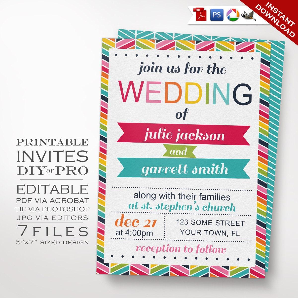 Wedding Invitation Template Rainbow Wedding Invitation
