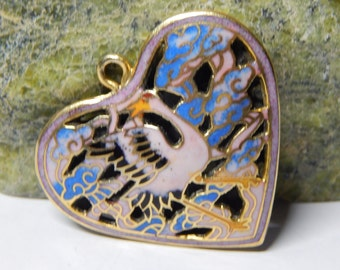 Vintage Enamel Coloured Relief Heart Brooch in blues and pinks Not sure of metal