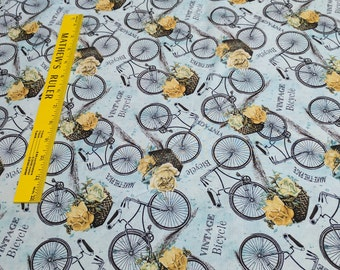 Vintage Garden-Bicycles on Blue Cotton Fabric from Wilmington Prints