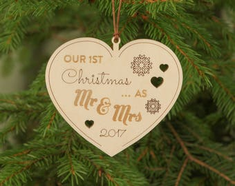 Our first Christmas ornament, First Christmas ornament married, Personalized Christmas ornament, Wooden ornament, Unique Christmas ornaments
