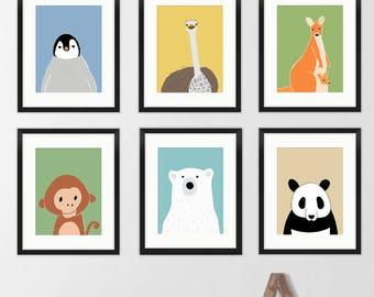 Animal baby room prints, zoo animal nursery decor,  neutral nursery prints, animal nursery art, set of 6 prints, monkey, penguin prints