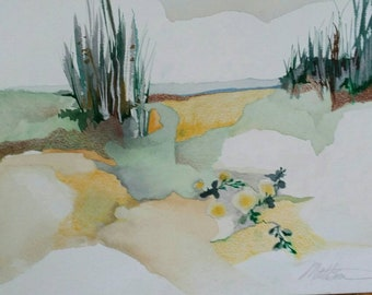 """SPRING SALE   Padre Island Series """" Beach Morningglory"""" one of a kind original watercolor."""