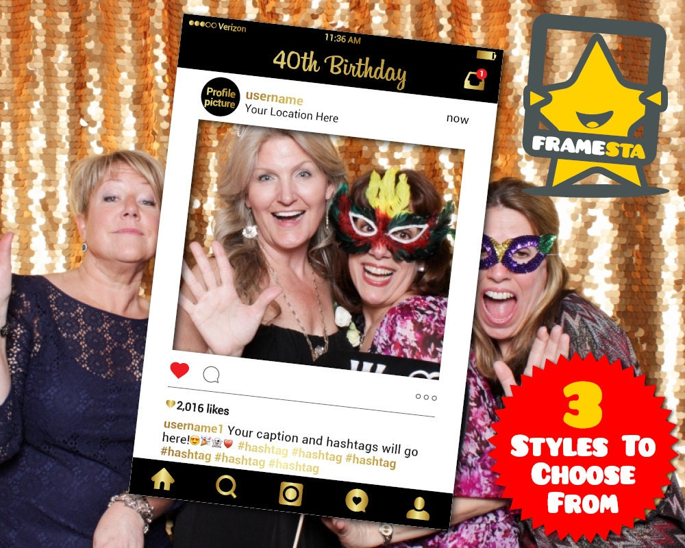 40th birthday party photo booth prop digital file instagram zoom solutioingenieria Images