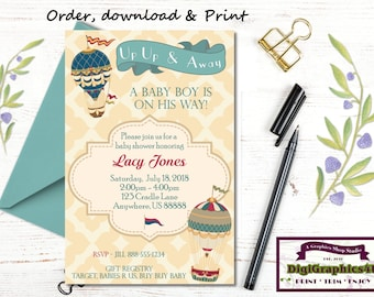 Hot Air Balloon, Up Up and Away, Baby Boy, Baby Shower Invitation - Printable Personalized  File