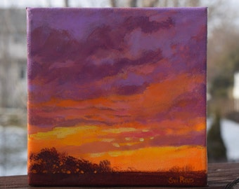 33 Acrylic landscape painting, abstract, canvas, impressionist, resin finish, Iowa landscape, artwork gift, original, sunset colorful art