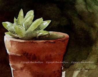 Succulent in Terra Cotta Flower Pot Print of Watercolor Painting Still Life