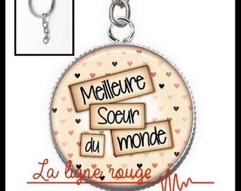 Key silver cabochon 25 mm resin best sister ever (1376) - text, love Word