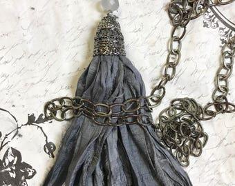 "Gray Sari Silk Tassel Necklace in Gray Filigree Gunmetal Bead cap Gunmetal linked chain Boho style Tassel Necklace 40"""