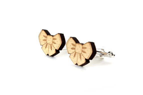 Bowtie cufflinks - wooden bow tie accessory - romantic wedding jewelry for the groom - lasercut maple wood - accessory for men
