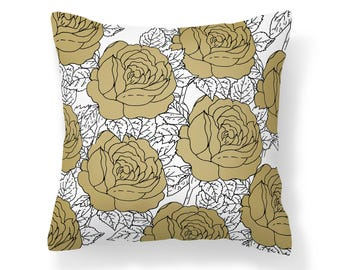 Sepia Roses Pillow Cover - Flower Pillow Cover -  Brown Roses Pillow - 18x18 inch pillow - 20x20 inch pillow - Decorative Pillow Cover