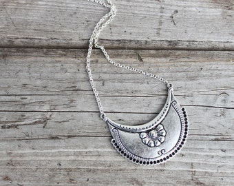 Boho Necklace Bohemian Necklace Pendant Silver Boho Jewelry Sterling Silver Chain Bohemian Jewelry Gypsy Ethnic Tribal Silver Necklace