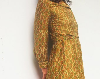 60's Vintage Long Sleeve Floral Print Midi Dress
