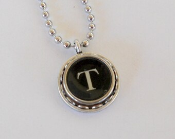 Initial Necklace Typewriter Key Necklace letter T  Vintage Initial Jewelry Recycled jewelry  All Letters Available