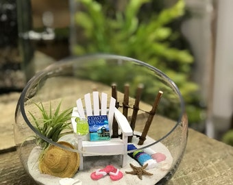 PERSONALIZED BEACH Terrarium Kit - Miniature ADIRONDACK Chair, Flip Flops and Sun Hat  - Day at the Beach  - by Landscapes In Miniature