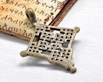 Tribal Cross Pendant Antique silver African Style Ethnic Jewelry Component