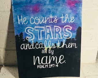 He counts the Stars - Watercolor