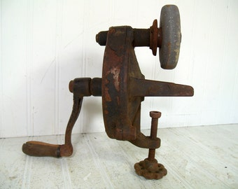Antique Luther Grinder No. 5M Mechanic Special Complete Working with Original Label Stone & Handle Vintage Industrial Table Top Vise Grinder
