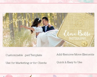 Gold Linen Facebook Cover/Timeline, Photoshop Template, INSTANT DOWNLOAD