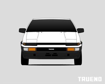 Toyota AE86 Poster // Trueno // Corolla // Sprinter // Levin // Hacki Roku // Print // Wall Art // Panda // Initial D