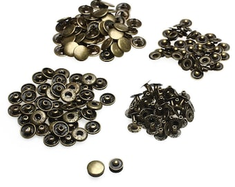 Press Studs - Size 15mm - S Spring Bronze Press Studs Snap Fastener Poppers Button Sewing Clothing