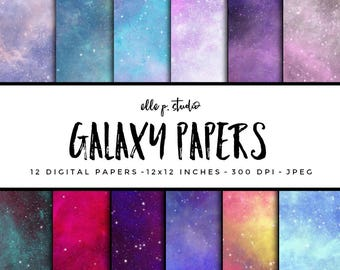 Galaxy Paper Set / Digital Scrapbook Paper / Illustrated Paper / Galaxy Paper / Wallpaper/Backdrop