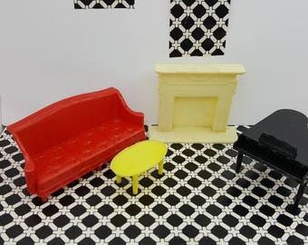 Alliierten Sofa Pyro Kamin Klavier Couchtisch hart Kunststoff Puppenhaus traditionelle Art-Deco-Wohnzimmer