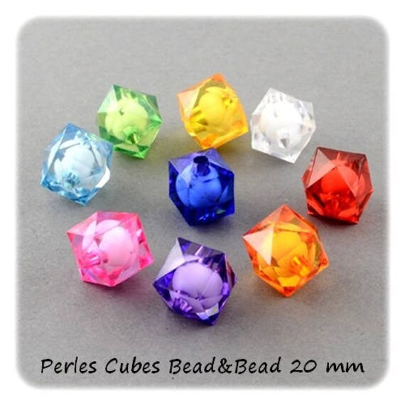 Cubes are faceted 20 mm Bead & Bead] colorful x 1