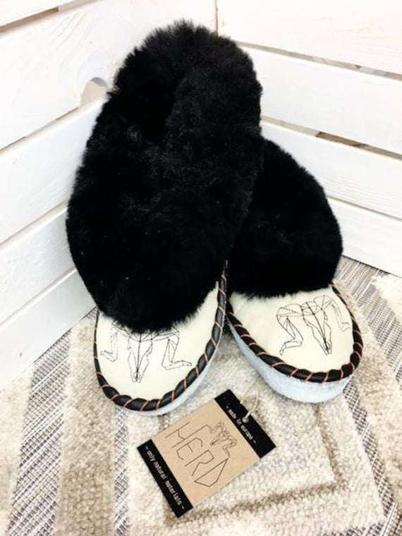 Black & Cream Leather Slippers. Women's Slippers. Genuine Leather Slippers. Warm Winter Slippers.