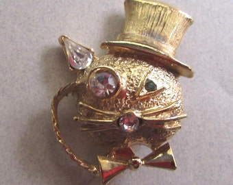 Rhinestone Kitty Brooch Pin Cat Top Hat Bow Tie and Monocle Formal GentlemanVintage Costume Jewelry Figural Steampunk
