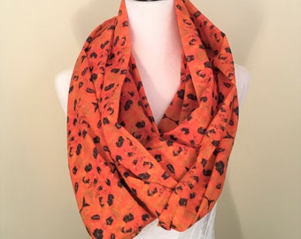 Elysian Fields- Orange and Black 100% Cotton Infinity Scarf