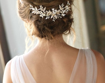 Pearl Bridal Comb, Pearl Wedding Hair Comb, Floral Bridal Hair Comb, Bridal Accessory, Bridal Back Piece, Wedding Back Comb, Bride - 7012