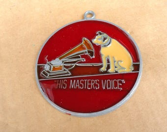 vintage RCA victor nipper dog stained glass suncatcher ornament,radio phonograph advertising,His master voice