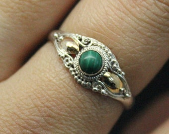 Vintage Malachite 14k Gold Plated Silver Ring | Stacking Malachite Sterling Silver Ring | Vintage Sterling Silver Ring