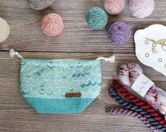 Knitting Project Bag | Blue Waves and Fish Sock Sack Yarnmonster Knitting Project Bag
