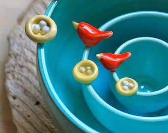 Handmade Pottery Bird & Nest Nesting Bowl Set - 4-6 for Delivery