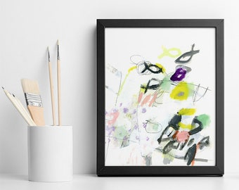 Small ABSTRACT PAINTING original wall art pink yellow and grey with fishes coastal decor, abstract art for bedroom