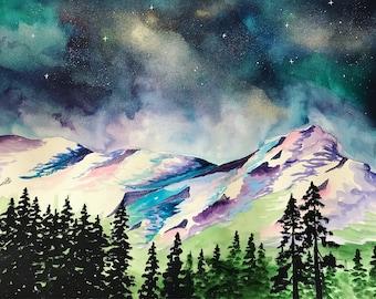 Mountain watercolor / starry sky / blue / landscape painting / original art