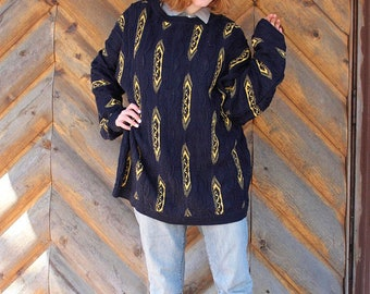 COOGI Vintage Oversized Sweater HIP HOP Knit Pullover Top 80s Modern Mens Size Extra Large Geometric Weaved Tunic Women's Boyfriend Sweaters