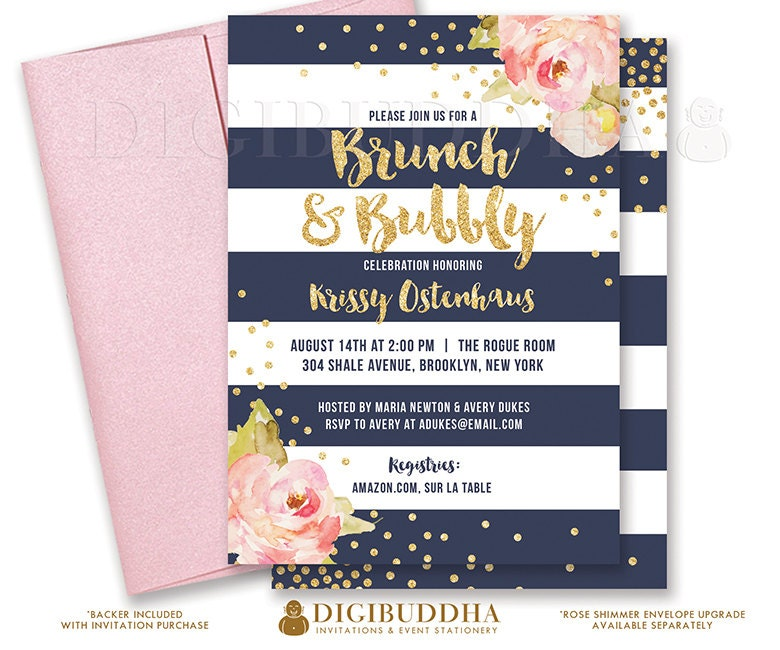 Brunch Bubbly Invitation Bridal Shower Invite Pink Peonies On Top