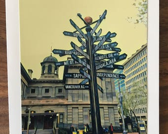 Pioneer Courthouse Square Notecard, Portland Oregon