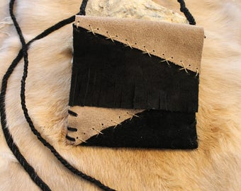 Native American Leather Patchwork Crossbody Little Bag Black and Light Brown