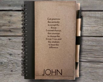 Sobriety Journal Notebook With Pen. Serentity Prayer With/Without NAME. Addiction. Recovery. Gift. Rehab. AA Birthday. Alcoholics. 12 Step b