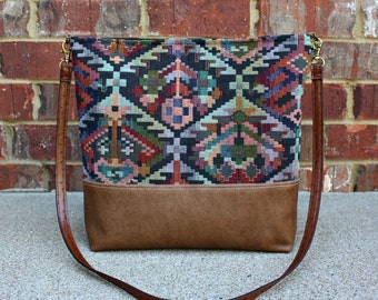 Southwestern Upholstery Bag with Faux Leather Strap