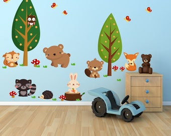 Woodlands Wall Decal, Forest Wall Decal, Fabric Wall Decal, WD71