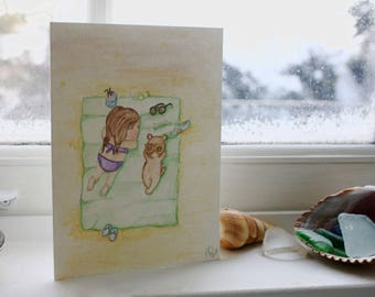 Little girl on beach - Handmade - Cards