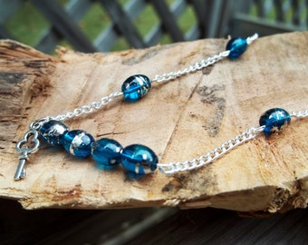 Glass Beaded Silver Necklace with Key Charm - Simple and Modern Jewelry - Blue Glass Beads with Silver Key Dangle