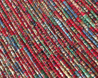 "Hand Woven Table Runner County Fair Red 15"" x 32"""