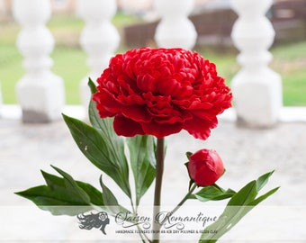 Red Peony - Polymer Clay Flowers - Mothers Day Gift for Women Pink Gift For Her Flower Peony