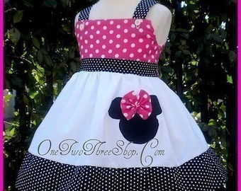 Custom Boutique Disney Minnie Mouse Small hot pink Dot Dress