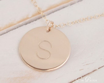 Set of 3 Personalized Gold Disc Necklace - 14k Gold Filled, Handmade, Block Font, 5/8ths Disc Choose Initial/Font,Bridesmaid gift